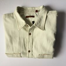 7 For All Mankind Mens Button Front Shirt XL Light Lime Green Long Sleeve NWOT