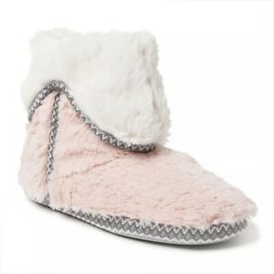 Dearfoams Pink Furry Foldover Boot Slippers - Women's 9/10