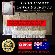 Backdrop White Satin wedding event photography background drape +removable swag