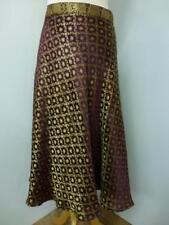 Señoras Borgoña indio Reciclado Sari envolver falda Pantorrilla (SB-WRP-2)