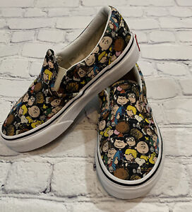 Vans Peanuts Kids Authentic Slip On Canvas Shoes The Gang Size 12 Youth Kids