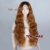 Black Mixed Yellow Brown Lace Front Wig Curly Heat Resistant Hair + Free Wig Cap
