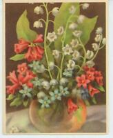 VINTAGE LILY OF THE VALLEY FLOWER FORGET ME NOT RED GENTIAN LITHO ART PRINT CARD