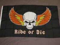 RIDE OR DIE FLAG 3X5 BIKER SKULL PIRATE WINGS SIGN F871