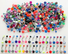 A#6 - 100pcs 316L Surgical Steel Mix Belly Naval Navel Rings 14g FREE SHIPPING