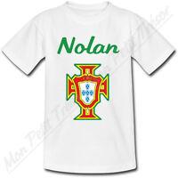 T-shirt Enfant Croix Portugaise Portugal avec Prénom Personnalisé