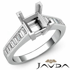 Baguette Side Diamond Engagement Ring Platinum 950 Princess Semi Mount 0.85Ct
