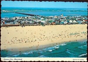 2 Views of Sun bathers & Swimmers at Ocean City Maryland, Aerial & Closeup
