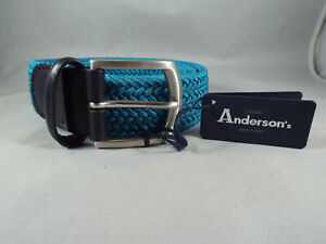 NWT Anderson's Black Leather & Teal Cotton Braided/Woven Belt Sz 38 Italy
