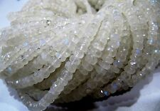 Natural Rainbow Moonstone Rondelle Faceted Beads Size 3-4.5mm 15 inches Beads