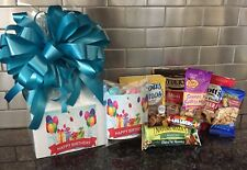 Happy Birthday Gift Box-Basket Wrapped With Turquoise Bow-Card-Snacks-Candy