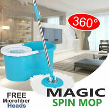 360 Degree Magic Rotating Spin Mop Bucket Free 2x Microfiber Head Spinning Easy