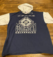 Vintage Georgetown Hoyas Hooded Tee - Adult XL  - Navy/Gray - Rare