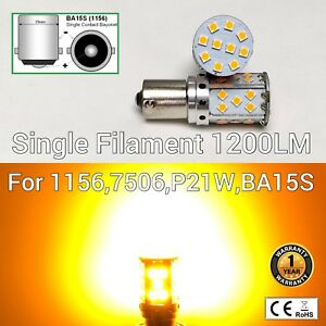 Front Signal Light 1156 BA15S 7506 3497 P21W 35 SMD Amber LED Bulb M1 MAR