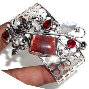 Red Jasper Garnet 925 Silver Plated Antique Adjustable Bangle Ethnic Jewelry GW