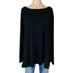 Womens 4X Top Shirt Blouse Tunic Plus Size Black Pima Cotton Blend Knit Long Tee