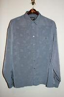 Vintage Mens ROCAWEAR Gray Logo Button Down Dress Shirt Large L