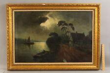 Antique L Huygen American Nocturnal Tonalist Oil Painting Sailboat Harbor Town