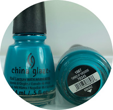 China Glaze Nail Polish TURNED UP TURQUOISE 1007 Bright Shimmer Blue Green Lacqu