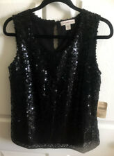 COLDWATER CREEK Black Sequin Sleeveless Top Tank NWT $100 S 8