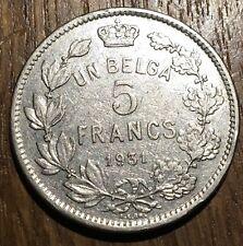 PIECE DE 5 FRANCS BELGIQUE 1931 UN BELGA (300)