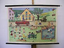 schöne alte Schulwandkarte Jahreszeiten Sommer 84x61cm summer vintage map ~1955