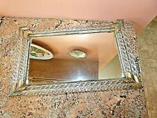 Vintage Mirrored Vanity Tray with Double Row Twisted Glass Rods Sides, Brass