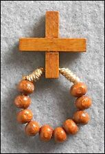 Corded One Decade Rosary Ring Wood (PS781) Mens Women