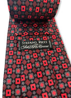 "Stefano Ricci Men's Red/Black Square 100% Silk Tie Made In Italy 4"" Width euc"
