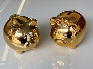 1pc Gold Chinese Happiness Pig Piggy Piggie Bank Money Box Gift Year of the Pig