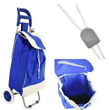 """37"""" Wheeled Shopping Cart Trolley Bag,33 Lb Load, Blue/Red"""