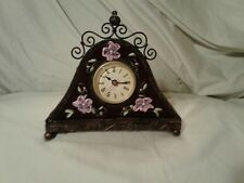 "Antique Velvet And Ribbon Roses Clock, Beautiful Decor, 8""1/2 X 7""1/4 Tall"