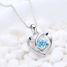 Heart Shape Pendant Necklace with 45cm Chain Silver for Women Romantic Jewelry