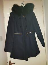 Miss Selfridge Coat With Faux Fur Hood Size 10