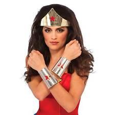 Halloween DC Wonder Woman Deluxe Tiara & Gauntlets 2pc Adult Accessory Set