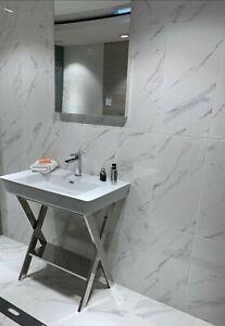 White Marble Effect Ceramic Wall Tiles 60x30 cm Beyaz Calacatta Carrara