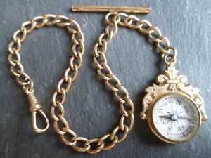 Short 9ct Rolled Gold Albert Pocket Watch Chain and Working Compass Fob