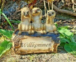 Erdmännchen Willkommen Schild Familie Figur Skulptur Garten Geschenk Gartenfigur