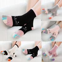 Girls Women's Colorful Thick Toe Socks Five Finger Socks Cotton Funny Socks