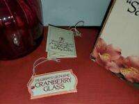 "**RARE FIND** NEW IN BOX Pilgrim Glass~ Cranberry Glass~ ""Sac Vase""  6"" x 4"""