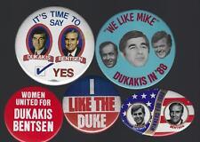 1988 MICHAEL DUKAKIS & L. BENTSEN POLITICAL CAMPAIGN BUTTON GROUP E