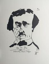 Horst Janssen, Edgar Allan Poe, Lithografie, Offset, handsigniert