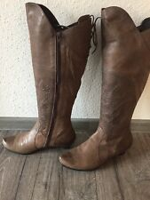Think Stiefel Gr. 39 1/2 Leder Grau/ Braun
