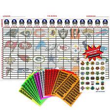 "2018 Fantasy Football Draft Kit 60"" x 36"" Board Large 4"" Sticker Labels"