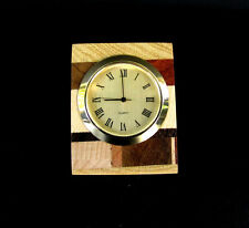 HANDCRAFTED ONE OF A KIND LAMINATED EXOTIC WOOD DESK SHELF CLOCK,CL-19