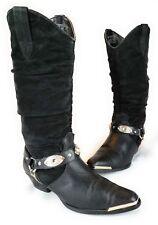 Oak Tree Farms Womens Cowboy Boots Black Suede Leather Slouch Spur Straps Gems