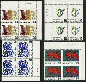 DENMARK #1102-1105 Contemporary Art Postage Stamp Corner Blocks EUROPE 1998 MNH