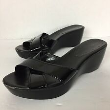 BCBGirls womens size 7.5 B strap black patent leather wet look platform sandals