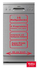 Amica Geschirrspüler 45cm unterbaufähig Silber AquaStopp Spülmaschine Timer