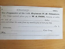 EXTREMELY RARE Original 1864 Civil War SUTLER RECEIPT, 14th New Hampshire, GIFT